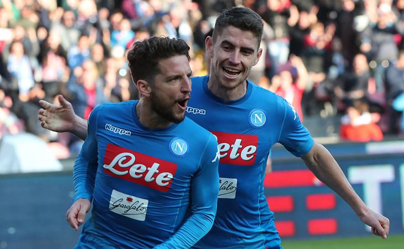 Napoli's Belgian striker Dries Mertens (R) celebrates after