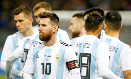 Messi em amistoso Rússia x Argentina, antes da Copa do Mundo de 2018