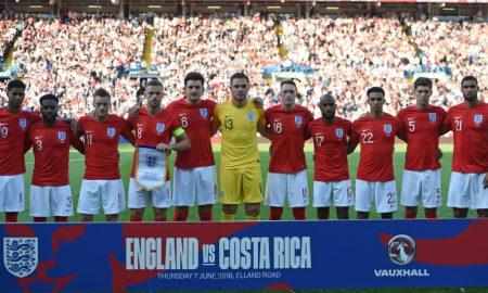 Seleção Inglesa em amistoso contra Costa Rica