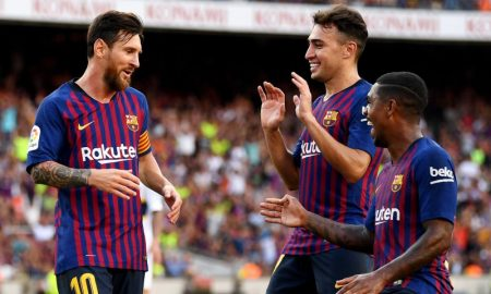 Lionel Messi e colegas do Barcelona
