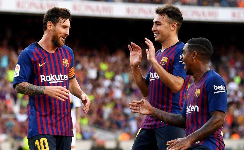 Lionel Messi e colegas do Barcelona