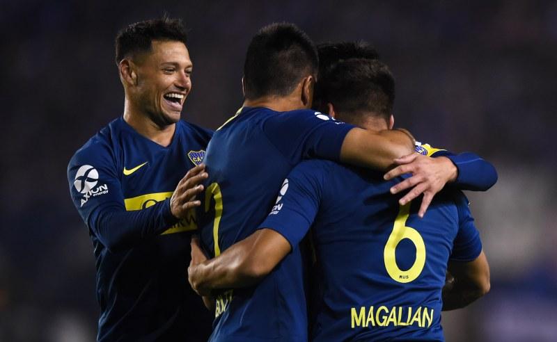 Lisandro Magallan e colegas do Boca Juniors