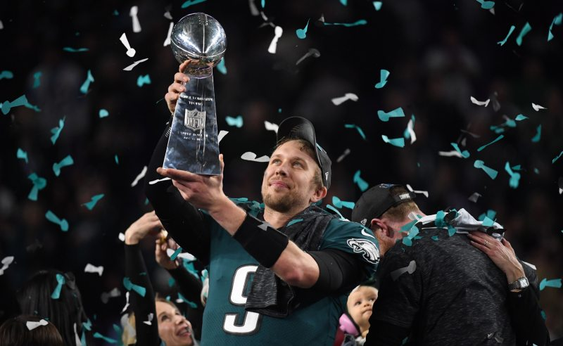 Nick Foles do Philadelphia Eagles comemora a vitória do Super Bowl LII