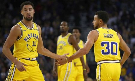 Klay Thompson e Stephen Curry dos Golden State Warriors