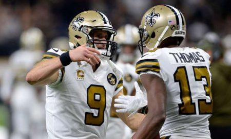 Drew Brees e Michael Thomas dos New Orleans Saints