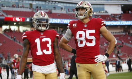 Richie James Jr. e George Kittle dos San Francisco 49ers