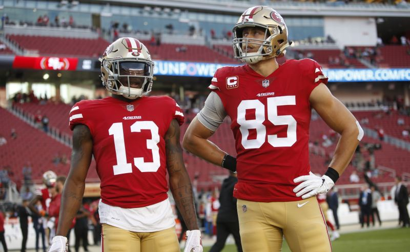 Richie James Jr. e George Kittle dos San Francisco 49ers