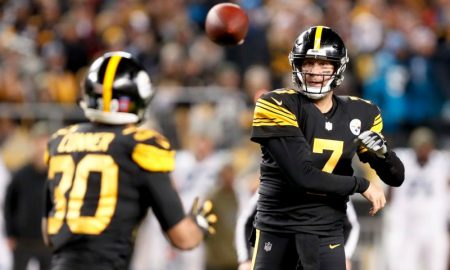 Ben Roethlisberger e James Conner dos Pittsburgh Steelers