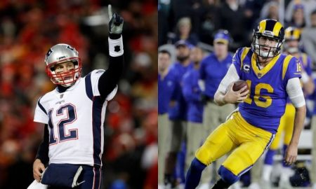 Tom Brady dos Patriots e Jared Goff dos Rams