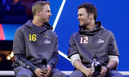Jared Goff dos Rams e Tom Brady dos Patriots