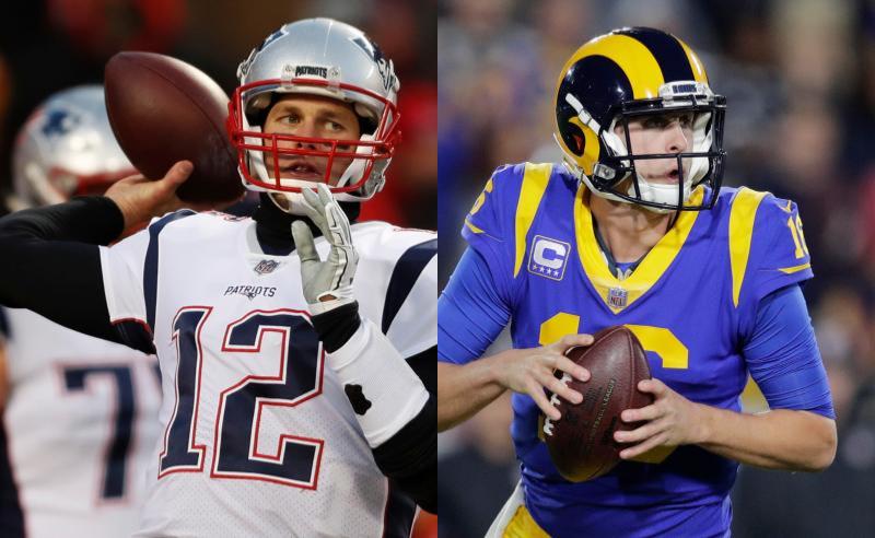Tom Brady dos Patriots e Jared Goff dos Rams
