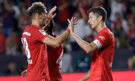 Robert Lewandowski e Leon Goretzka do Bayern de Munique