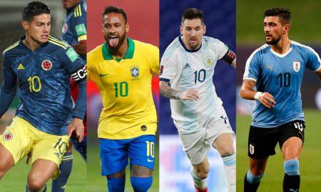 James Rodriguez da Colombia Neymar do Brasil Messi da Argentina De Arrascaeta do Uruguai