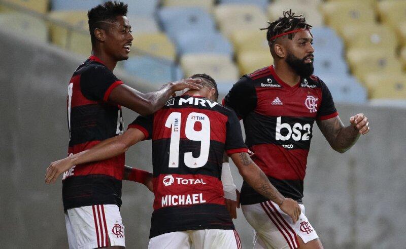 Bruno Henrique Michael e Gabigol do Flamengo