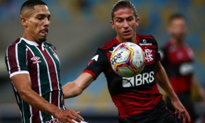 Gilberto do Fluminense e Felipe Luis do Flamengo