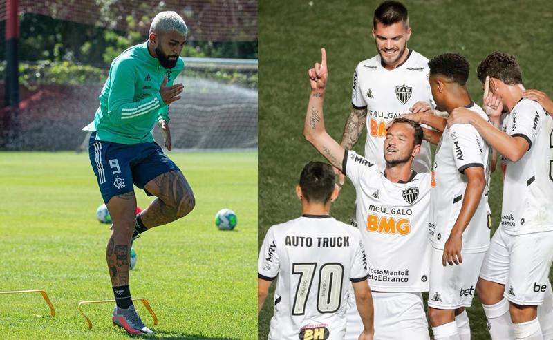 Gabigol do Flamengo e time do Atlético-MG