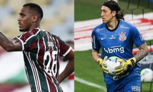 Digao do Fluminense e Cassio do Corinthians