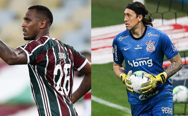 Digao do Fluminense e Cassio do Corinthians