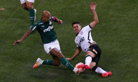 Felipe Melo do Palmeiras e Danilo Avelar do Corinthians