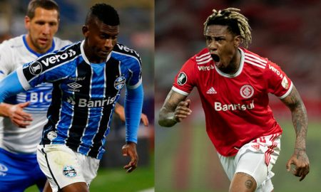 Isaque do Gremio e Abel Hernandez do Internacional