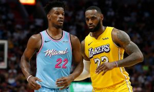 Jimmy Butler do Miami Heat e LeBron James do Los Angeles Lakers