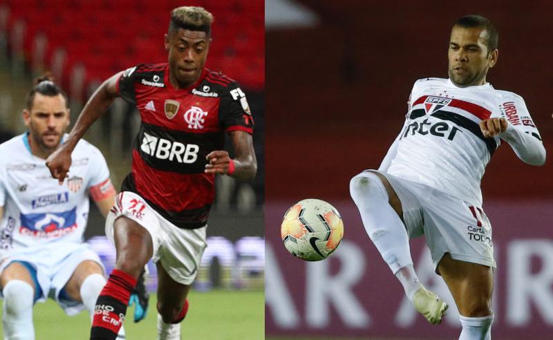 Bruno Henrique do Flamengo e Dani Alves do São Paulo