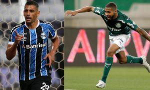 Diego Souza do Grêmio e Wesley do Palmeiras