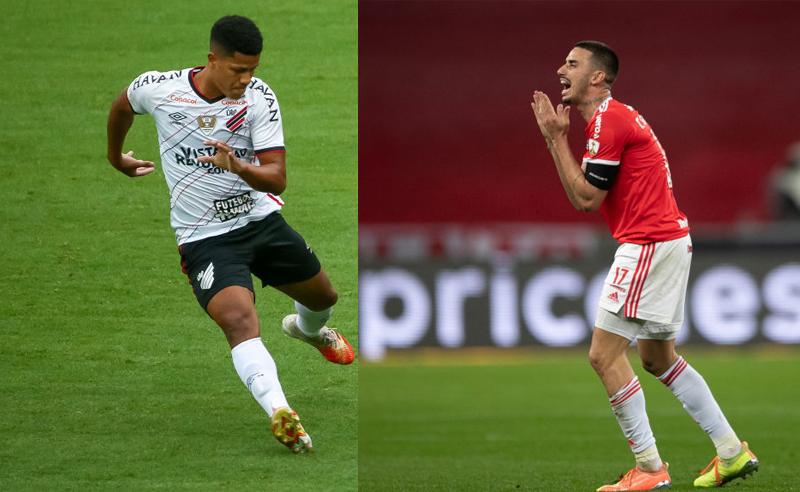 Jaime Alvarado do Athletico-PR e Thiago Galhardo do Internacional