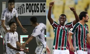 Marcos Leonardo do Santos e Luiz Henrique e Fred do Fluminense