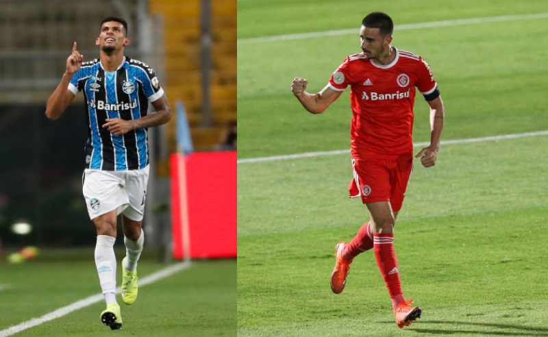 Rodrigues do Grêmio e Thiago Galhardo do Internacional