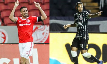 Thiago Galhardo do Inter e Everaldo do Corinthians