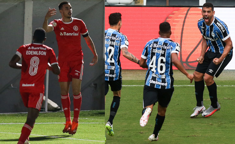 Thiago Galhardo do Internacional e Diego Souza do Gremio