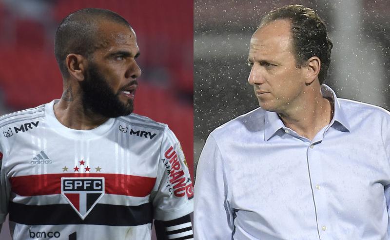 Dani Alves do São Paulo e Rogerio Ceni do Flamengo