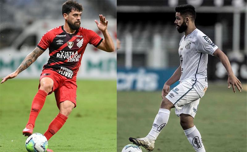 Fernando Canesin do Athletico-PR e Felipe Jonatan do Santos