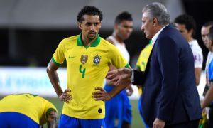 Marquinhos e Tite da Seleção Brasileira