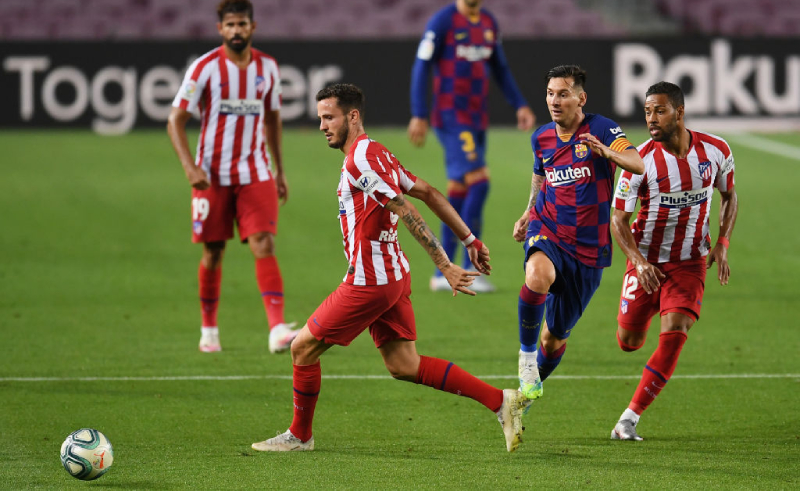 Messi do Barcelona Niguez e Lodi do Atlético de Madri