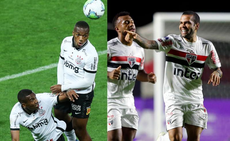 Xavier do Corinthians e Dani Alves do São Paulo