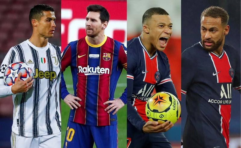 Cristiano Ronaldo da Juventus Messi Barcelona Mbappe e Neymar PSG