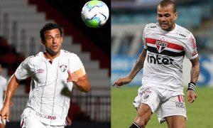 Fred do Fluminense e Dani Alves do São Paulo