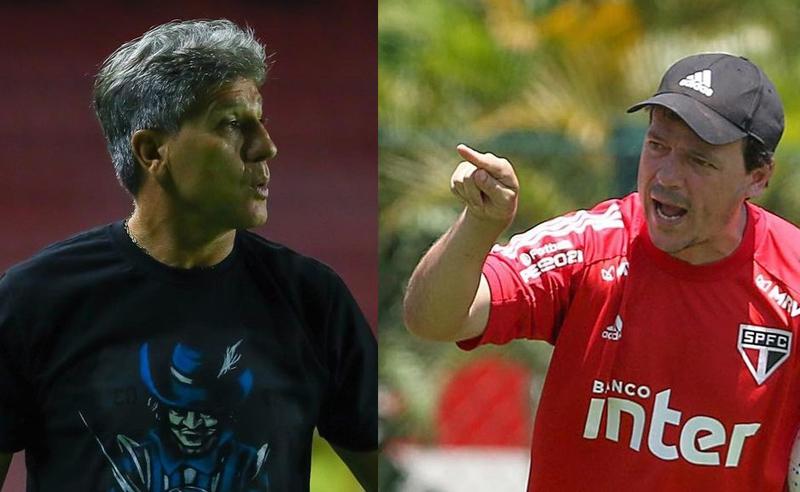 Renato Gaúcho do Grêmio e Fernando Diniz do São Paulo