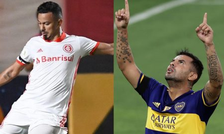 Rodrigo Lindoso do Internacional e Edwin Cardoso do Boca Jrs.
