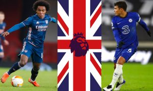 Willian do Arsenal e Thiago Silva do Chelsea na EPL