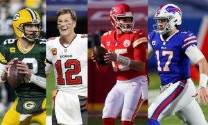 Aaron Rodgers Green Bay Packers Tom Brady Buccaneers Patrick Mahomes Chiefs Josh Allen Bills