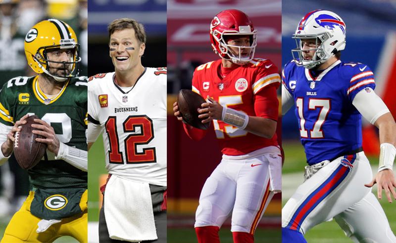 Aaron Rodgers Green Bay Packers Tom Brady Buccaneers Patrick Mahomes Chiefs Josh Allen Bills