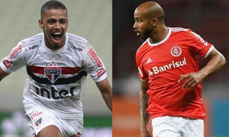 Brenner do São Paulo e Patrick Choco do Internacional