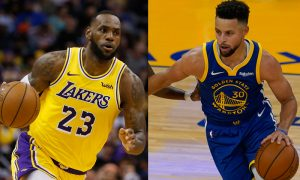LeBron James do Los Angeles Lakers e Stephen Curry do Golden State Warriors