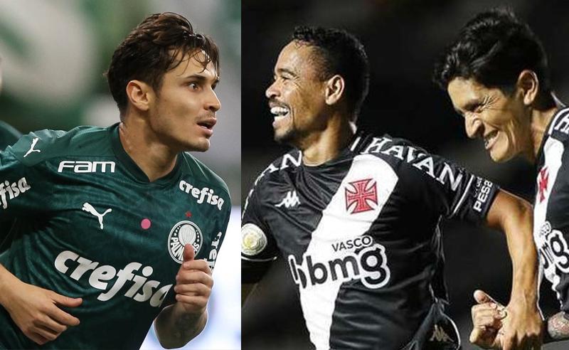 Raphael Veiga do Palmeiras e Yago Pikachu e Cano do Vasco