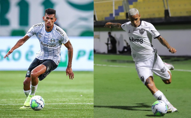 Rodrigues do Gremio e Guilherme Arana do Atlético-MG