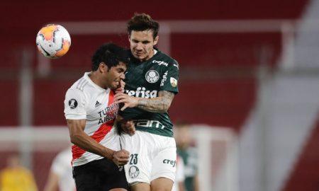 Rojas do River Plate e Raphael Veiga do Palmeiras