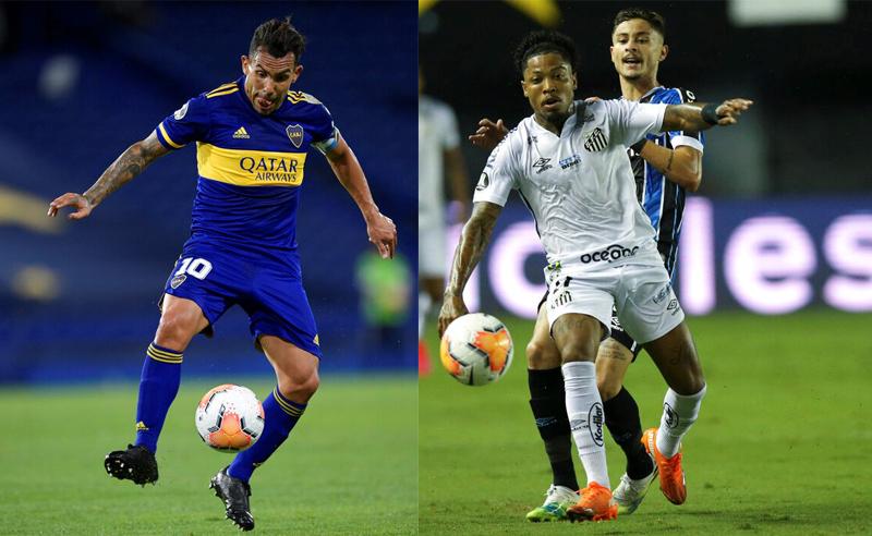 Tevez do Boca Juniors e Marinho do Santos